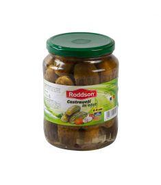 Castraveții în oțet 720ml Roddson sunt de cea mai bună calitate, cultivați și procesați în România după o rețetă proprie. Gustul lor deosebit poate completa și complementa cele mai sățioase mâncăruri.