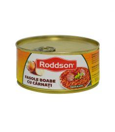 Cârnăciori cu fasole Roddson în cutie de 300 grame, poate reprezenta o masă delicioasă și hrănitoare. Conține ingrediente de calitate și este produs în România.