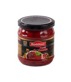 Pasta de tomate Roddson în borcan de 430ml, produs în Moldova are o concentrație de 25% și conține 100% roșii. Produsul este din gama premium și nu conține conservanți.