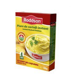 Piure de cartofi instant cu gust de cașcaval Roddson, în cutie de 100 grame este alternativa rapidă la piureul de cartofi tradițional. Gustul excelent, ingredientele de calitate fac din piureul de cartofi instant Roddson o opțiune delicioasă când vrei să