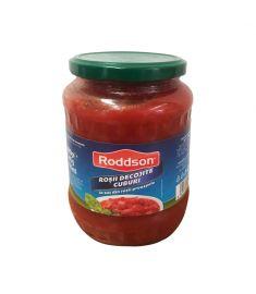 Roșii decojite cuburi Roddson, în borcan de 720 grame, sunt produse folosind roșii coapte, zemoase și dulci, de cea mai bună calitate, din România. Prepară mâncăruri senzaționale cu roșiile Roddson.