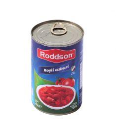 Roșii decojite cuburi Roddson, în cutii de 400 grame, sunt produse folosind roșii coapte, zemoase și dulci, de cea mai bună calitate, din Italia. Prepară mâncăruri senzaționale cu roșiile Roddson.