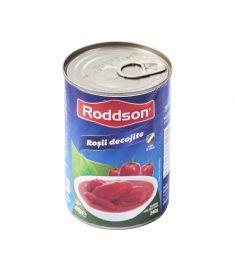 Roșii decojite întregi Roddson, în cutii de 400 grame, sunt produse folosind roșii coapte, zemoase și dulci, de cea mai bună calitate, din Italia. Prepară mâncăruri senzaționale cu roșiile Roddson.