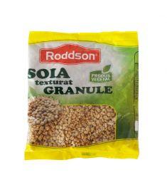 Soia granule Roddson, în ambalaj de 100 grame poate fi ingredientul perfect pentru o masă delicioasă și sănătoasă. Produs vegetal, nemodificat genetic.