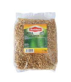 Soia granule Roddson, în ambalaj de 1kg poate fi ingredientul perfect pentru o masă delicioasă și sănătoasă. Produs vegetal, nemodificat genetic.